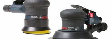 Neue Druckluft-Exzenterschleifer von Bosch mit Stütztellern und Schleifmitteln von Sia Abrasives