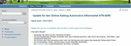 NTN-SNR mit neuem Online-Katalog