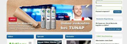 Tunap mit Online-Shop für Werkstätten