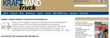 Neu: Tipps und Nachrichten für den Nutzfahrzeug-Profi auf www.krafthand-truck.de