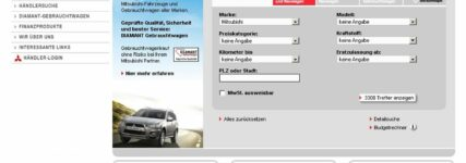 Online-Fahrzeugbörse von Mitsubishi mit erweiterter Suchfunktion
