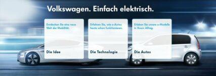 Internetportal 'Volkswagen e-mobility' mit Infos zur Elektromobilität