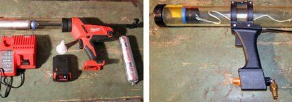Modifizierte Druckpistolen von Otto Products für die Scheibenmontage