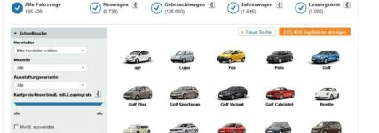 Volkswagen bündelt vier Online-Autobörsen zur Plattform 'Die Autosuche.'