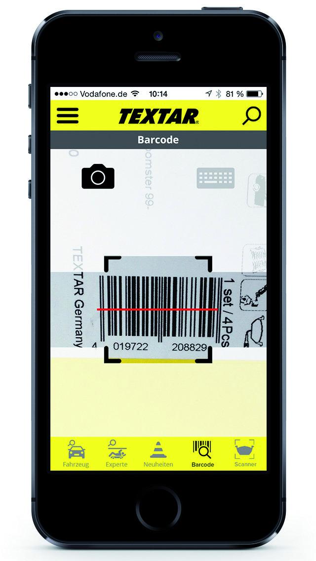 textar brakebook app mit intergriertem barcode und bremsbelag scanner krafthand. Black Bedroom Furniture Sets. Home Design Ideas