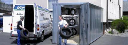 Hacobau: Container für Reifenlagerung