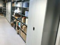 Werkstattregale als zweigeschossiges Ersatzteillager