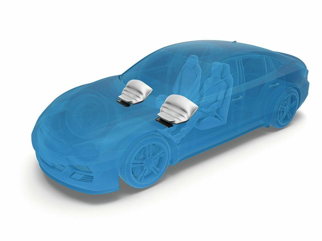Zeichnung der Airbags in einem Fahrzeug