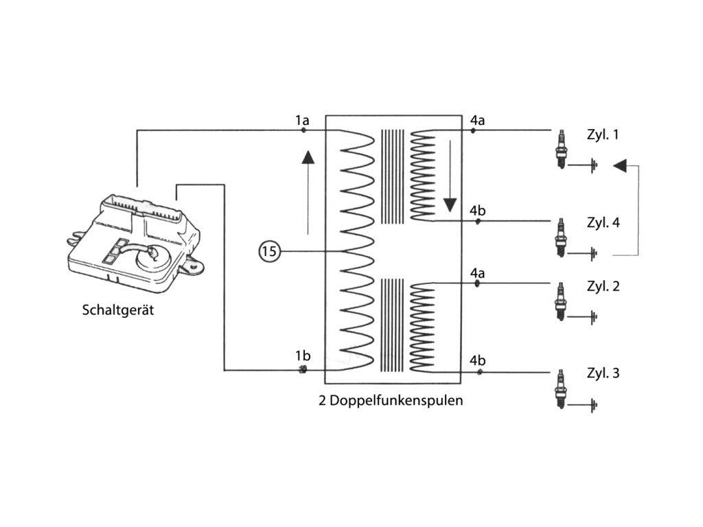 Schaltplan einer Doppelfunkenzündspule