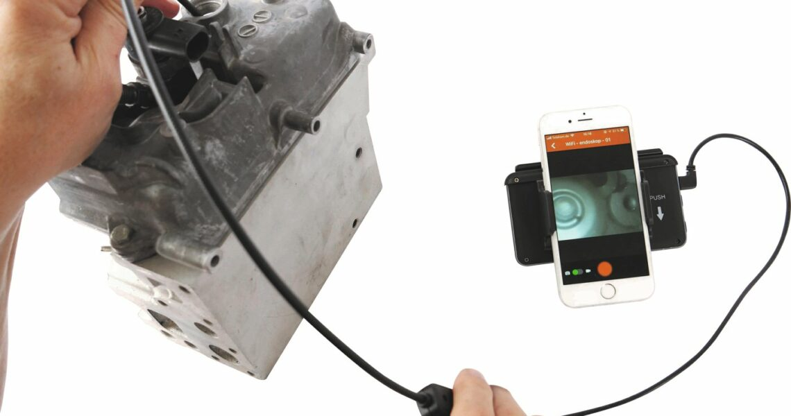 Endoskop gekopplet mit Smartphone
