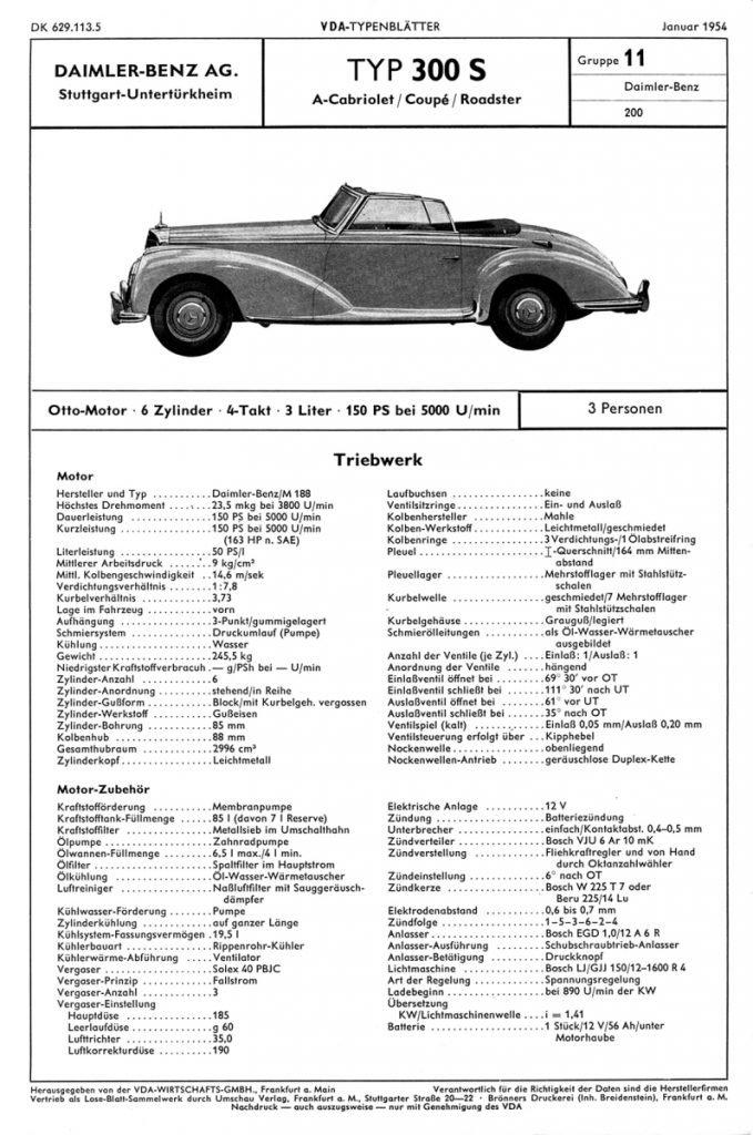 Datenblatt für die Cabrio-Variante des Mercedes-Benz 300 S mit 6-Zylinder-Motor