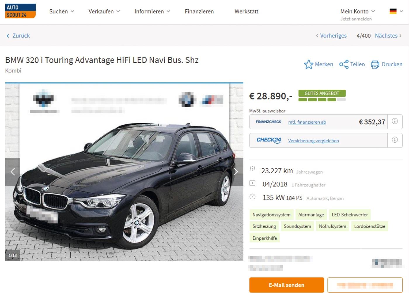 Preisangabe für einen Pkw im Onlinehandel