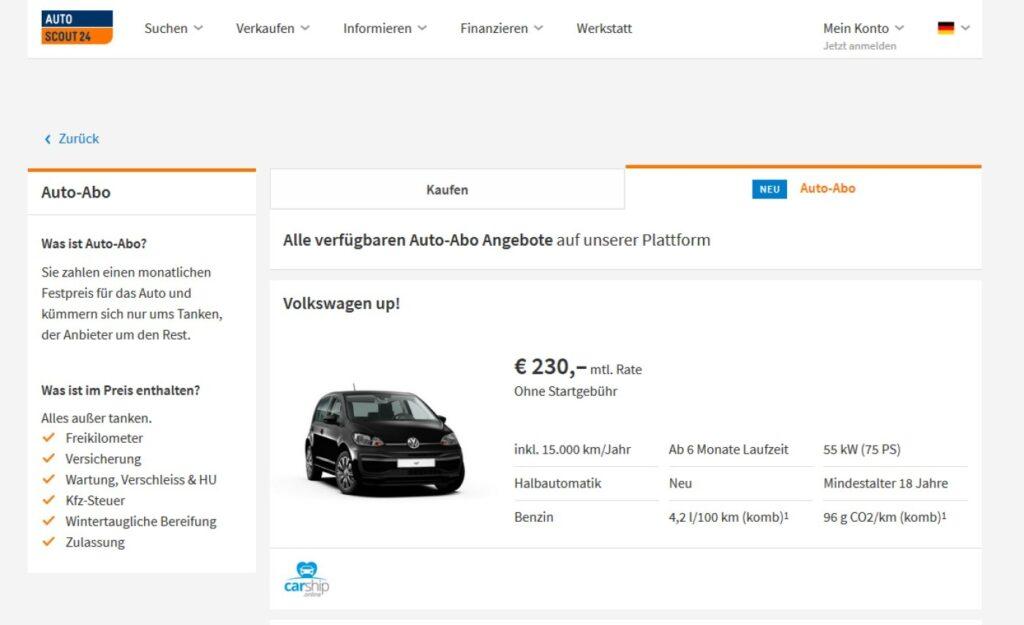 Auto-Abo-Plattform