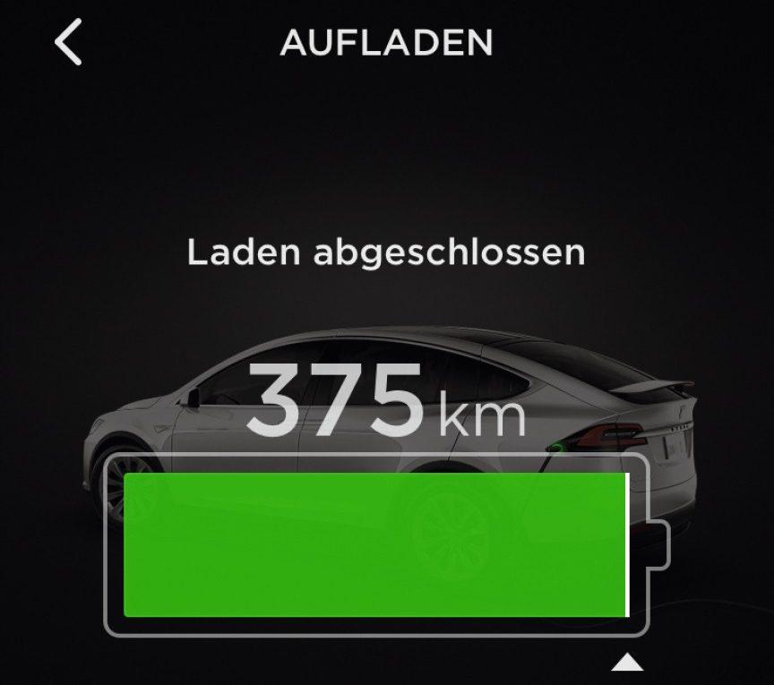 Ladeanzeige in der Tesla-App
