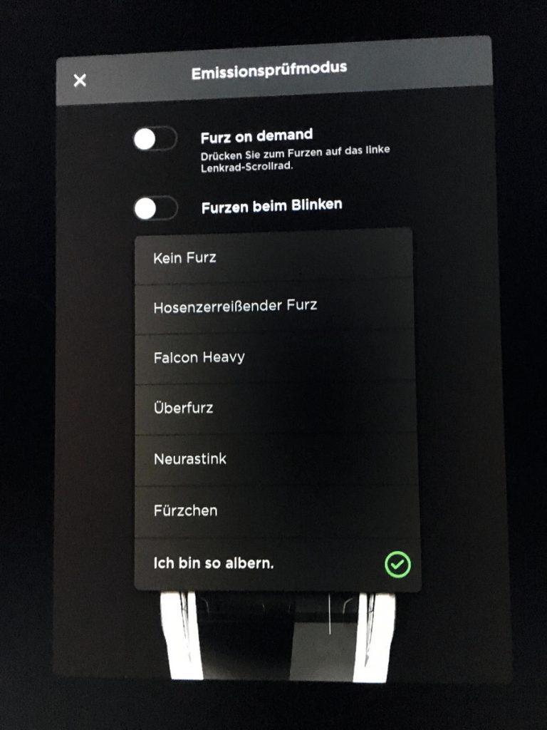 "Blinkereinstellungen ""Furzen"" beim Tesla Model X"
