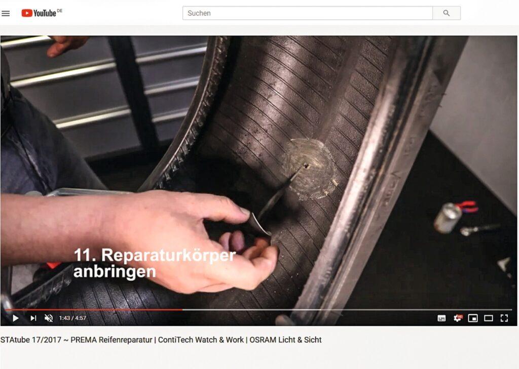 Reifenreparatur mit Nagelloch-Reparaturkörper von Prema