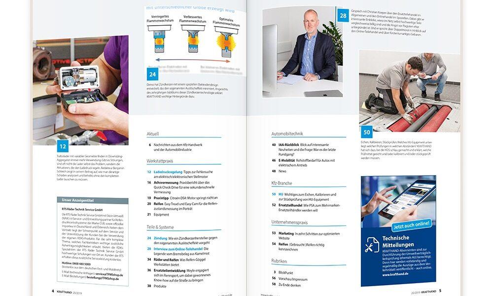 Blick ins Inhaltsverzeichnis der KRAFTHAND 21/2019.