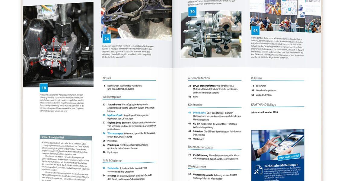 Blick ins Inhaltsverzeichnis der KRAFTHAND 22/2019.