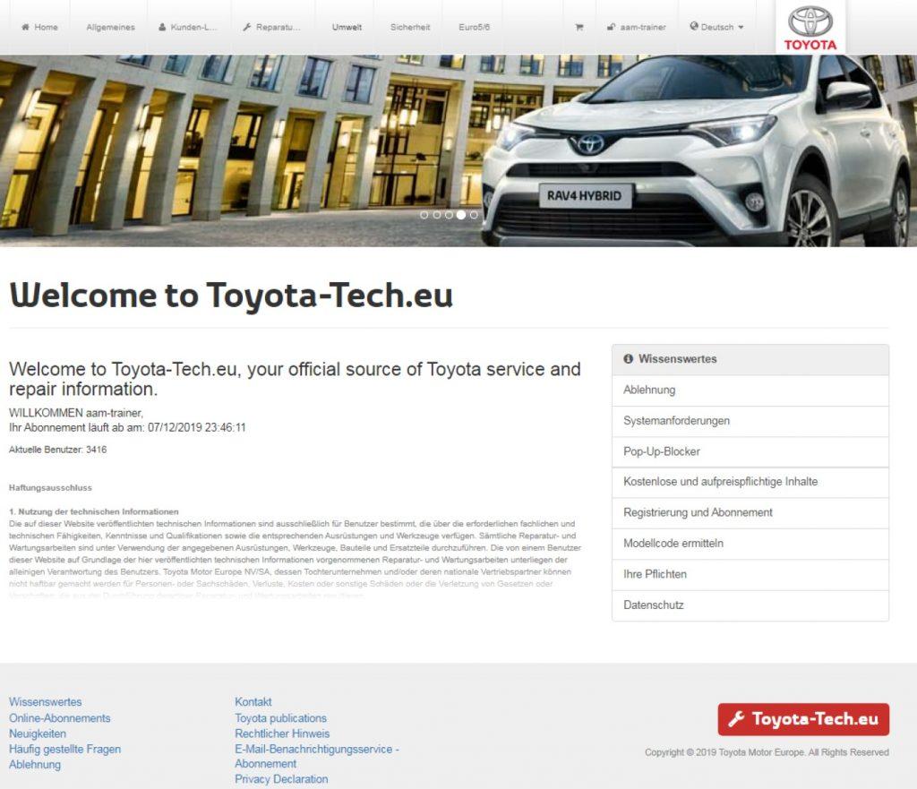 Toyota Herstellerportal