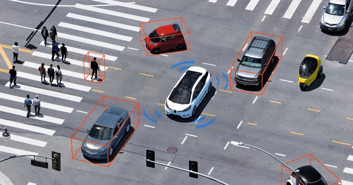 Autonomes Auto im Stadtverkehr Grafik