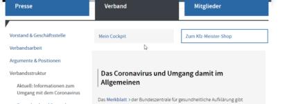 Informationsangebot für Kfz-Betriebe in Sachen Corona
